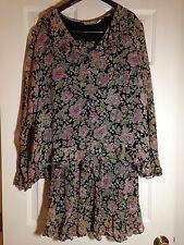 'Putumayo' 2 pc 100% Rayon Black Floral BOHO Ruffle Skirt Top - Size M - EUC