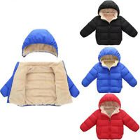 Child Kids Girl Boy Winter Hooded Coat Cloak Jacket Thick Warm Outerwear Comfy