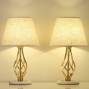 2 Pcs Set Vintage Gold Table Lamps Nightstand Marble Stand Bedside Table