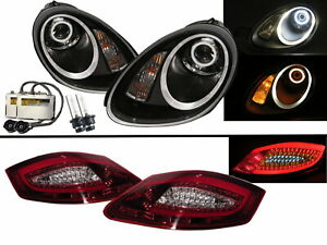 Cayman 987 05-08 HID Headlights Assembly + LED Tail Lights V2 for PORSCHE LHD