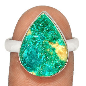 Dioptase Crystal 925 Sterling Silver Ring Jewelry s.9.5 BR77422