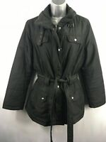WOMENS M&CO BLACK POPPER/ZIP UP BELTED LIGHTLY PADDED JACKET COAT SIZE UK 14
