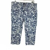Not Your Daughters Jeans Blue White Printed Cropped Pants Womens Size 10 NYDJ