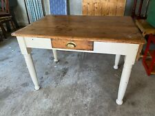 Vintage Solid Pine Natural & Painted Kitchen Table with Drawer