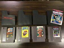Lot (4) Original Nintendo NES Video Games Mario, Mario 3, Glove ball, QB J Elway
