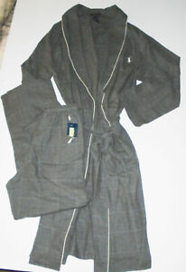 POLO Ralph Lauren Pajama Set GRAY Cotton Robe & Pants Sleepwear Mens NWT S/M