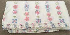 Retired Pottery Barn Kids PBK Sophie Butterfly Twin Bed Flat Sheet White Flowers