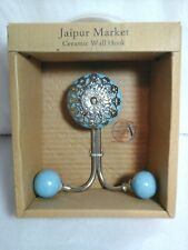 JAIPUR MARKET CERAMIC DOUBLE WALL HOOK~LIGHT BLUE