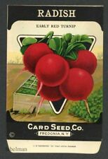 RADISH, Early Red Turnip, Antique Seed Packet, Card Seed, Country Store, 089