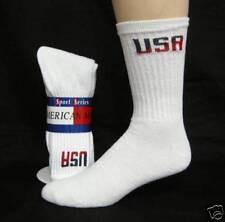 Mens white crew socks with USA logo size 10-13   6 pair