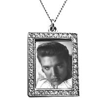 Elvis Presley Photograph Pendant - White - Silver with Swarkovski Crystals