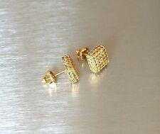 Mens & Ladies 18K Gold Finish Lab Diamond Screw Back Stud Earrings 8mm NEW