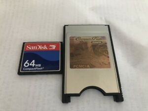 CompactFlash 64MB CF with Compact Flash Card adapter SanDisk 64M PC PCMCIA Card