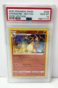Pokemon Card 2020 SWSH Vivid Voltage Charizard Reverse Foil 025/185 PSA 10 MINT