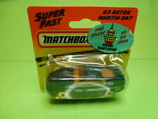 MATCHBOX 63 ASTON MARTIN DB7 - GOOD ON CARD-BLISTER - GREEN 1:60