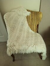 """Hand Knitted Acrylic Cream Colored Fringed Baby Blanket Shawl 55"""" X 43"""""""