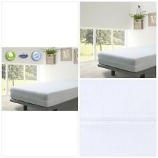 Elastic Mattress Cover Bed Protector Full Enclosed Zipped Cotton White Single