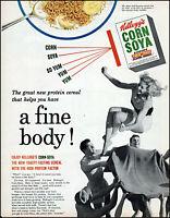 1950 Girl blanket tossed Kellogg's corn soya cereal vintage photo print Ad adL49