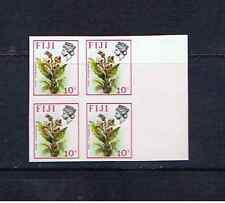 FIJI  10c FLOWER IMPERFORATE BLOCK OF FOUR