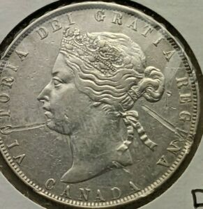 1870 LCW Canada 50 cents silver coin, scratched