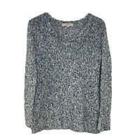 Ann Taylor Loft Women's Size Small Blue & White Knit V-Neck Marled Sweater