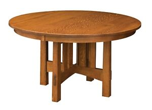 "Amish Mission Craftsman Round Pedestal Dining Table Solid Wood 48"", 54"", 60"", 72"