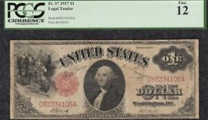 1917 $1 Red Seal Legal Tender Note Fr.37-Certified PCGS Fine F12 Serial # w/333