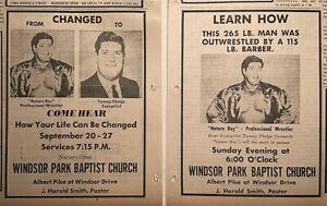 2 1970 newspaper ads for Tommy Phelps appearance, Nature Boy Wrestler evangelist