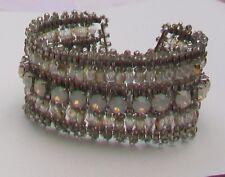 M&S Opal Glass Stones & Sparkling Bead Silver Tone Statement Bracelet