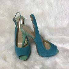 ENZO ANGIOLINI Women Suede Wedge Heel Peep Toe Shoe Sz 7 M