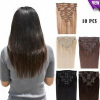 Full Head Remy Human Hair Extensions Clip in 10 PCS Real Nature Hair for Women