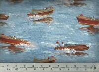 Elizabeth's Studio ~ Vintage Antique Wooden Boats ~ 100% Cotton Quilt Fabric BTY