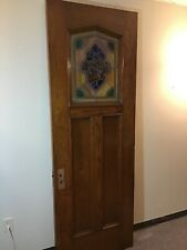 Oak Antique Arts & Crafts Stained Glass Door Church Salvage 32� By 89.5�