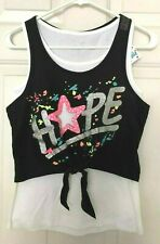 Justice Girls Layered HOPE Start Cut-Out & Emb Top Black & Multi, Sz 16 MSRP $28