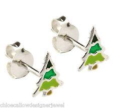 1x Pair of 925 Sterling Silver Christmas Tree Ear Studs Earrings + gift bag