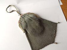 Antique Art Nouveau Silver & Enamel Mesh Evening Bag Clasp Set Amethyst Stone