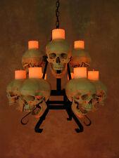 Two Tiered 9 Skull Chandelier w/ Wax Candles, Halloween Prop, Skeletons, NEW