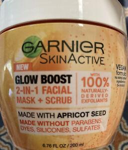 Garnier SkinActive. Glow Boost Facial Mask And Scrub. New. 6.76 Oz. Vegan.