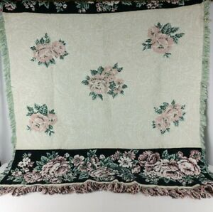 Woven Tapestry Afghan Floral Roses Throw Blanket Multicolor Fringed 29 x 48