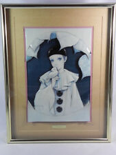 MIRA FUJITA RARE 3D OFFSET LITHOGRAPH OF PIERROT MIME CLOWN WITH BIRD IN FRAME
