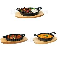 CAST IRON OVEN TABLE SIZZLE SIZZLING FOOD PLATE BOWL WOODEN BASE CURRY STEAK 5C