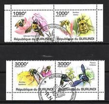 Insectes Burundi (26) série complète de 4 timbres oblitérés