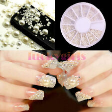 1200 Nail Art Tips Pearl Acrylic Gem Glitter Manicure 3D DIY Decoration + Wheel