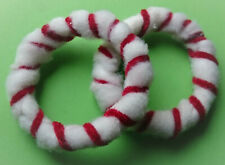 2 x Soft Fuzzy White & Velvet Red Bangles Candy cane Novelty gift Handcrafted