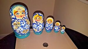Traditional Matryoshka Babushka Russian Nesting Wooden Dolls Set 5pc Big Size