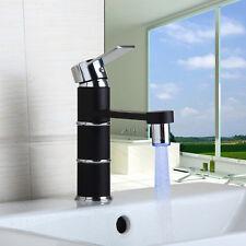 LED Light Spout Black Bathroom Sink Basin Faucet Single Handle  Mixer Taps