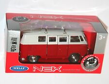 Welly - VW Volkswagen T1 BUS - Red + White w/ Purple Surfboard Model Scale 1/39