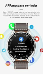 Elegant Man Leather Stainless Steel Smartwatch for Android IOS Men Smart Watch