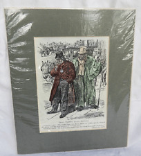 Antique Hand Coloured Wood Engraving - French & English Taxi Drivers - 1906