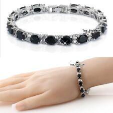 Women Gifts for Her Black Diamonds & Silver Tennis Bracelet Girls Ladies J594B